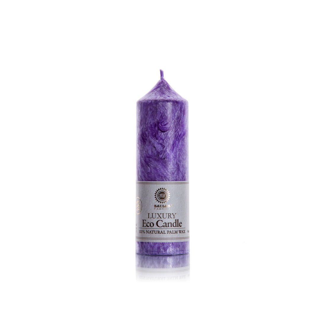 Manufacturer of High Quality Violet Rectangle Palm Wax Candle Pillar in Europe