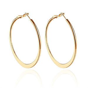 40mm 50mm 60mm Exaggerate Big Smooth Circle Hoop Earrings Brincos Simple Party Round Loop Earrings for Women Jewel