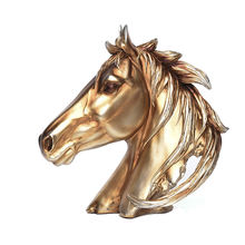 Artpiece Collectible Handcrafted  Golden Finish  Horse Bust Sclpture For Home Decoration Aniversary Birthday Holiday Gift