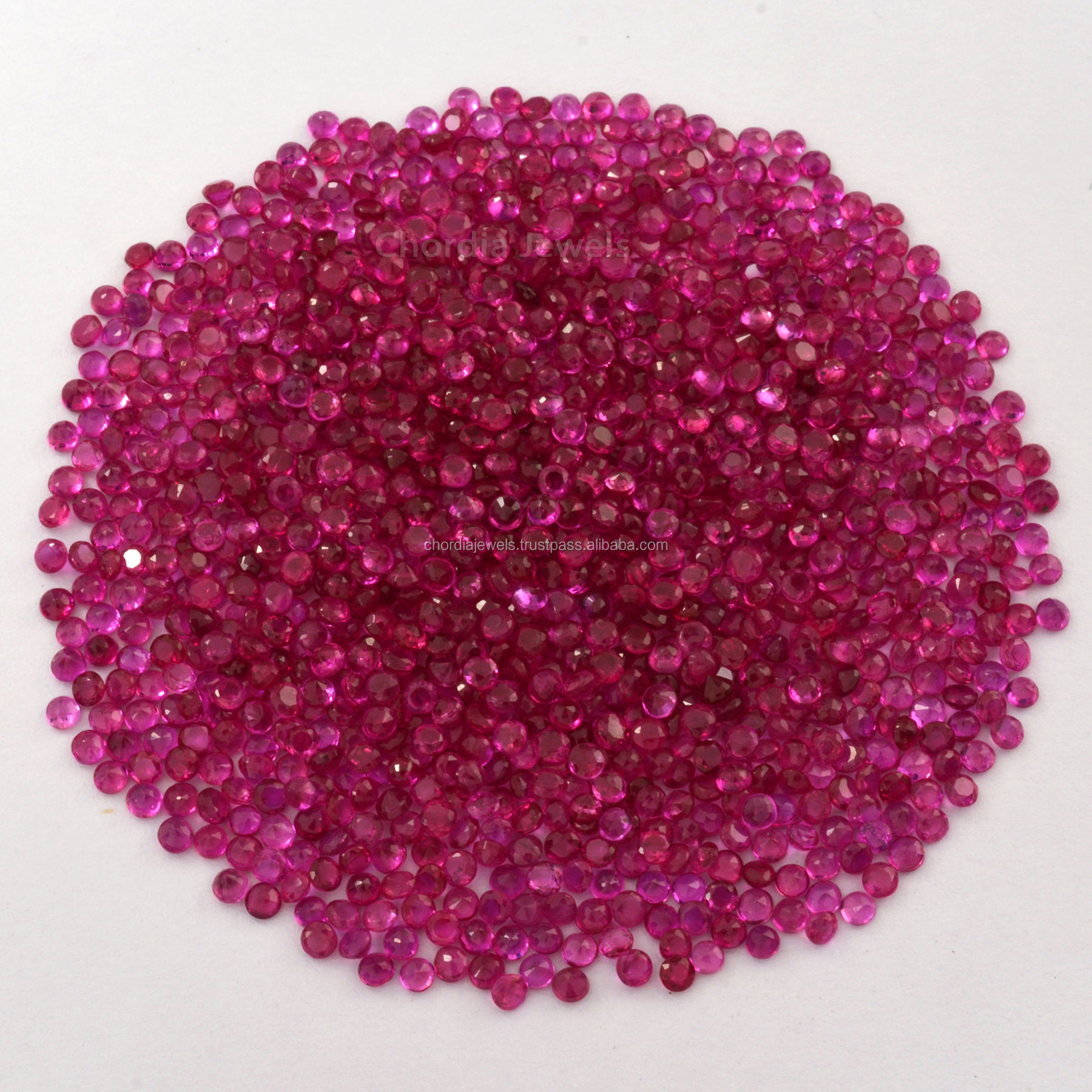 1.50ミリメートル-2ミリメートル-2.50ミリメートルTop Quality Natural Burmese Ruby Round Cut Faceted Loose Gemstone For Jewelry