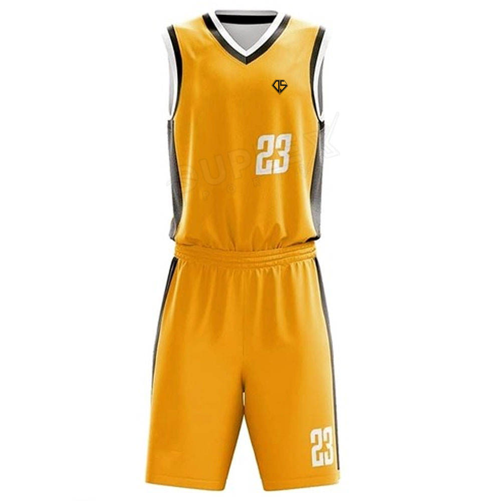 OEM Custom Plain Volleyball Jersey Team Wear Volleyball Uniform In Yellow Color With V Neck Design