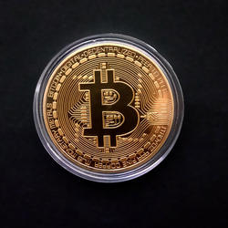 Physical Bitcon Coin BTC Case Antique Imitation Commemorative Bitcoints Coins Metal Gold Plated Souvenir Gift Art Collection