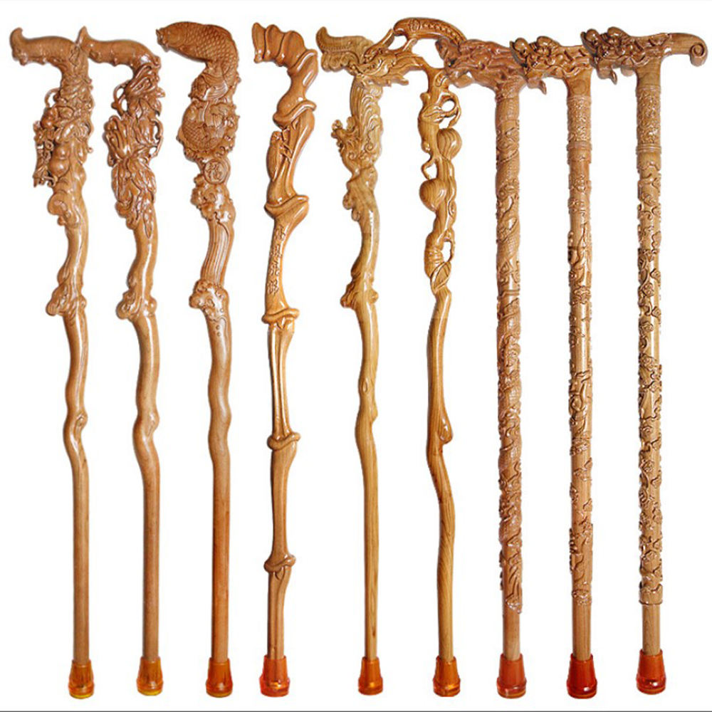 Outdoor Elderly Care Chinese totem mahogany carving walking sticks wood cane