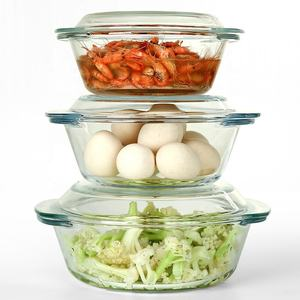 high borosilicate heat resistant round pyrex glass casserole dish with glass lid for microwave oven