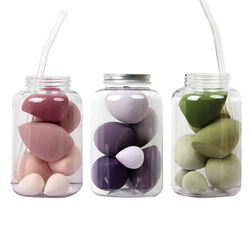 2020 Amazon Hot Selling Colorful Beauty Sponge Cosmetics Blender Candy Color 7pcs Gift Set with Jar Cosmetics Puff