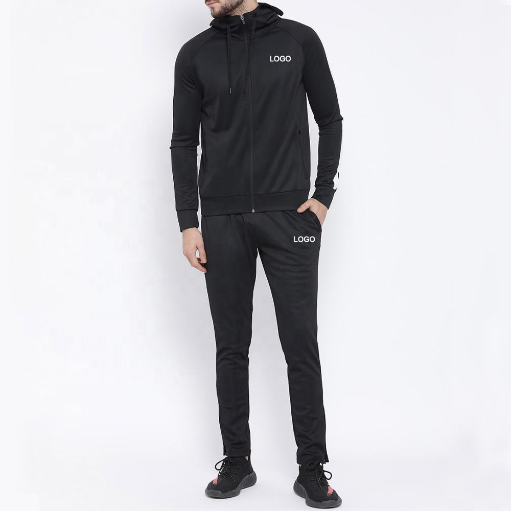 2020 New Fashion Plain Tracksuits Black Solid Track Jacket Track Suit Fitness Clothing Slim Fit Sweat suit for Men
