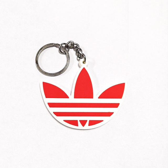 Soft PVC rubber single face 2D keychain customized design sport brand name with nickle keyring
