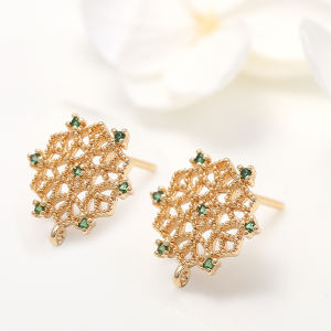 Jiexing 14K Gold Plated Inlaid Green Zircon Hexagon Shape Charm for Jewelry Making