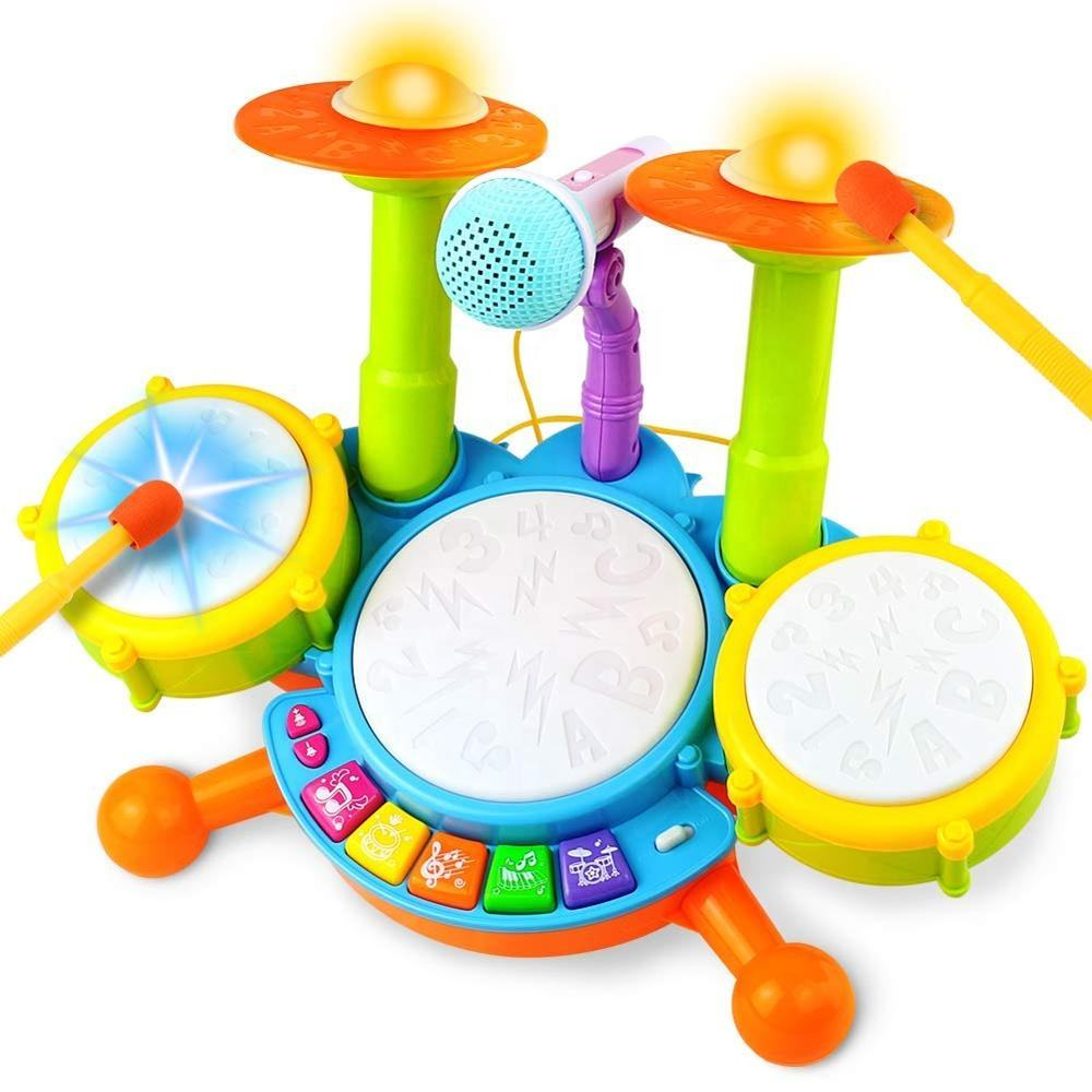 Kids Drum Set with 2 Drum Sticks 1 Microphone Electric Drum Musical Instruments with Light & Background Music Toy Gift