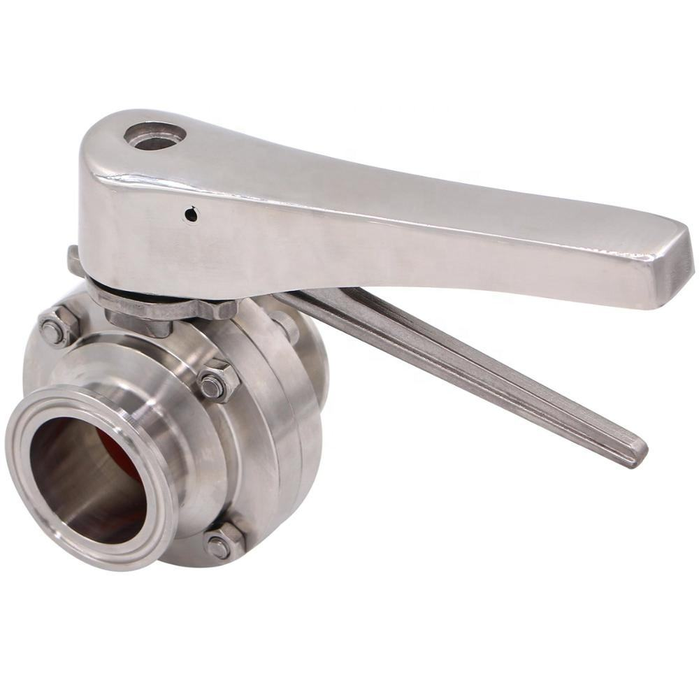 COVNA 1.5 inch Stainless Steel 304 Tri Clamp Clover Butterfly Valve with Trigger Handle