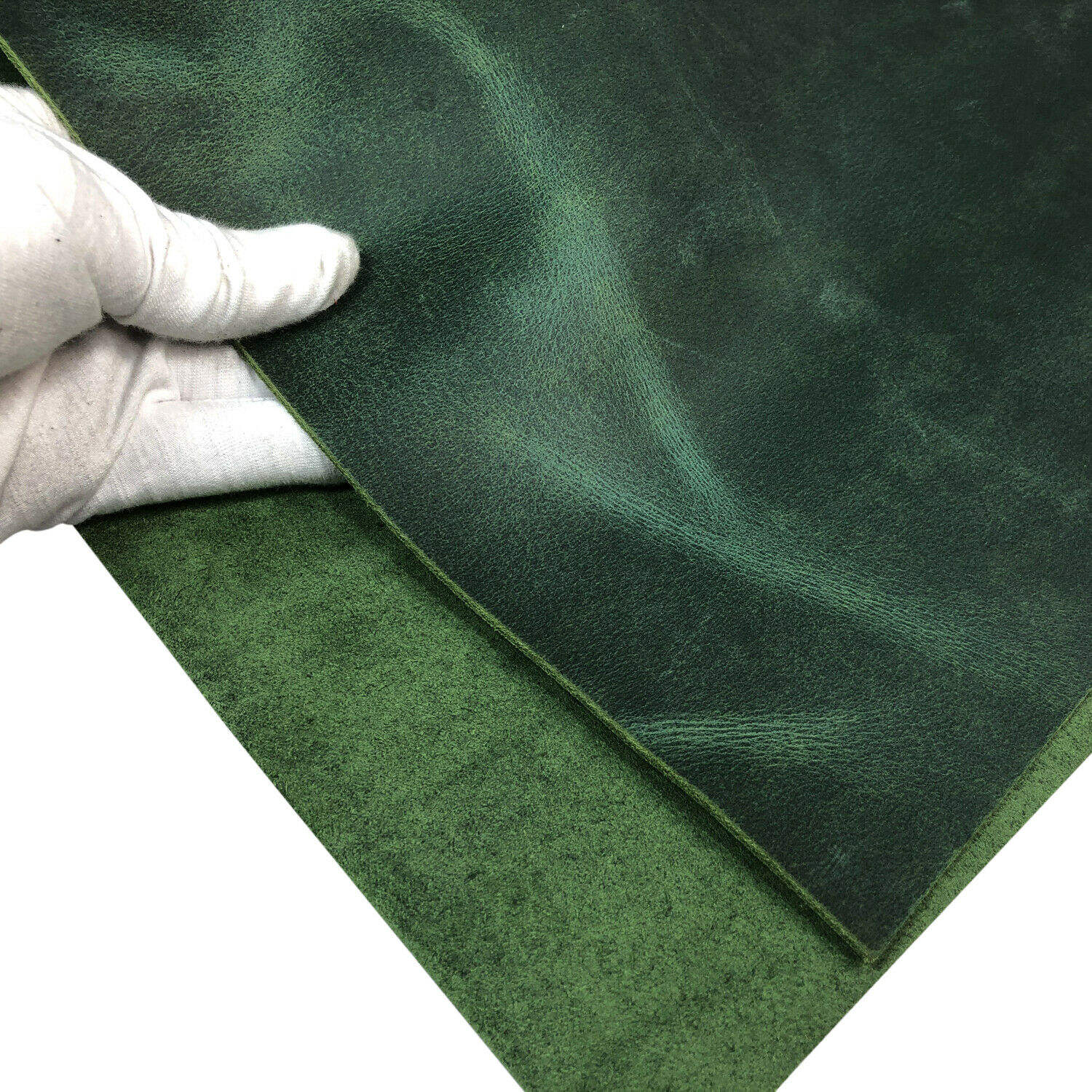 Vegetable Tanned Green Crazy Horse Leather 5-6 unzen (2.0mm) Thick Pre-Cut Cowhide