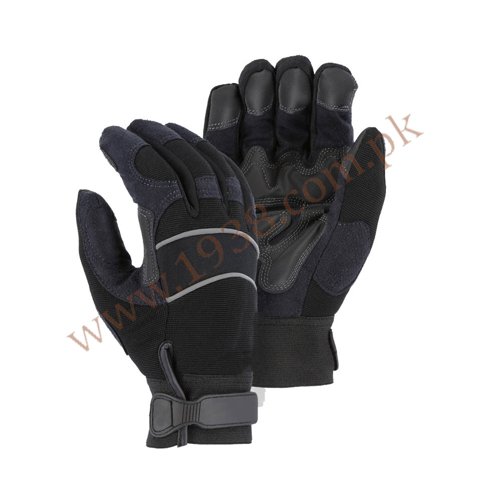 Custom Logo Mechanic Gloves With Black 100% Leather With PVC Reinforced Double Padded Palm