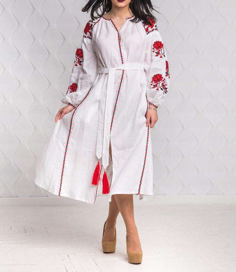 Summer Sexy Trend Victoria Classy Ukrainian Embroidered full sleeves for women's wear Ukrainian dress