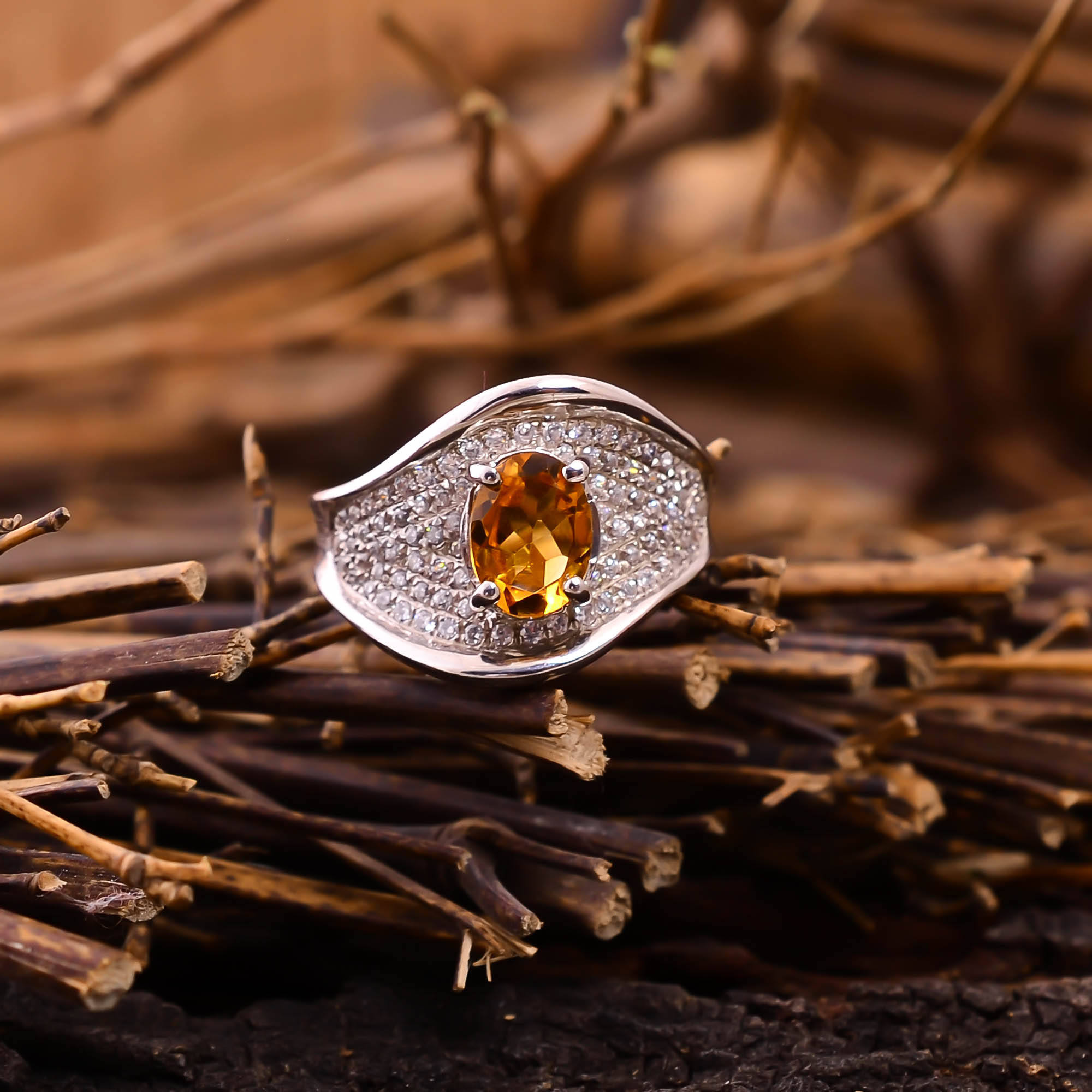 high quality designer citrine with white zircon gemstone 925 silver pave silver plated beautiful fashion ring