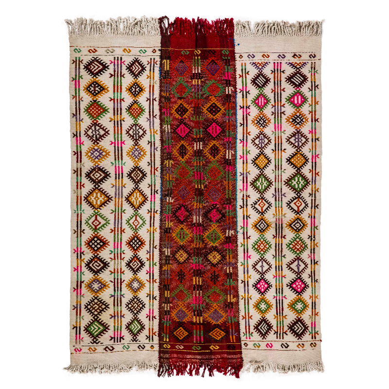 Excellent Design Kilim Carpet Flat Woven Rug Hand Made 100% Wool Handicraft 191x124cm Ready to Ship Turkish Kilim Carpet