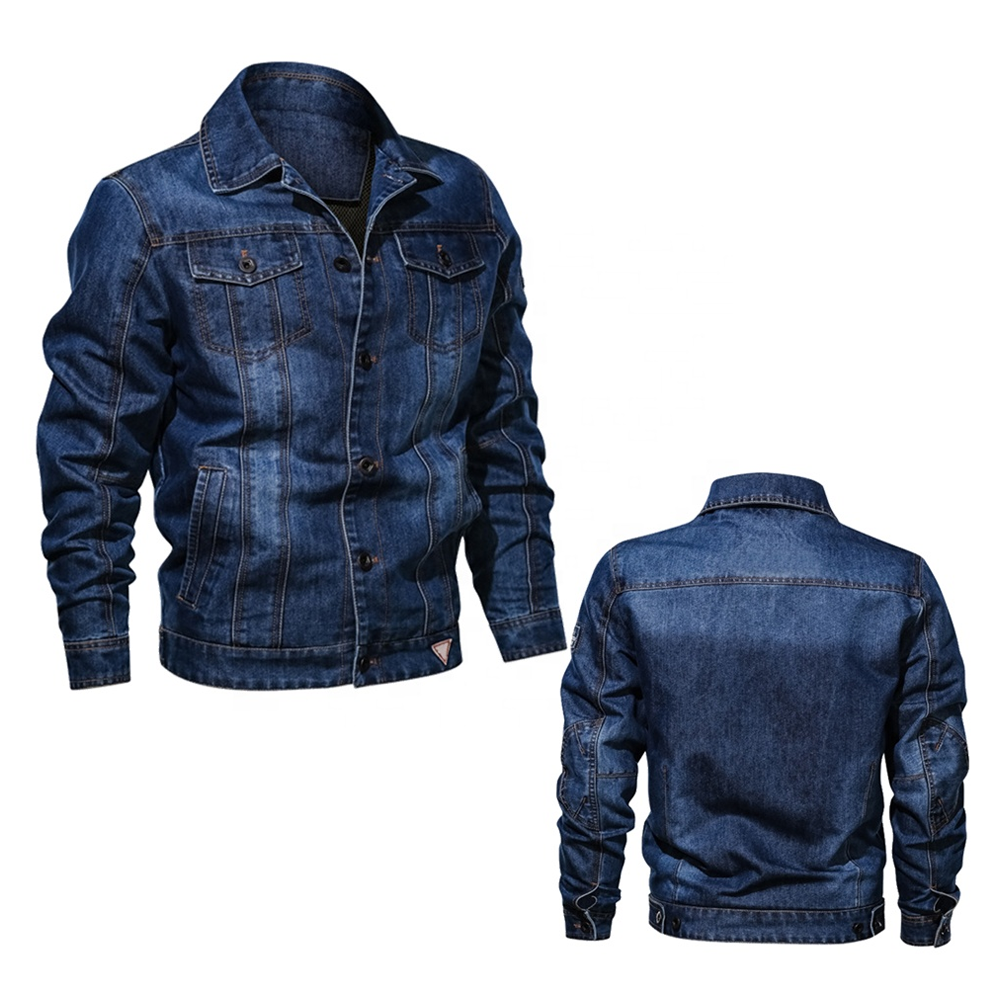Vintage Jeans Jackets Men Slim Fit Solid Color Casual Mens Jeans Jacket