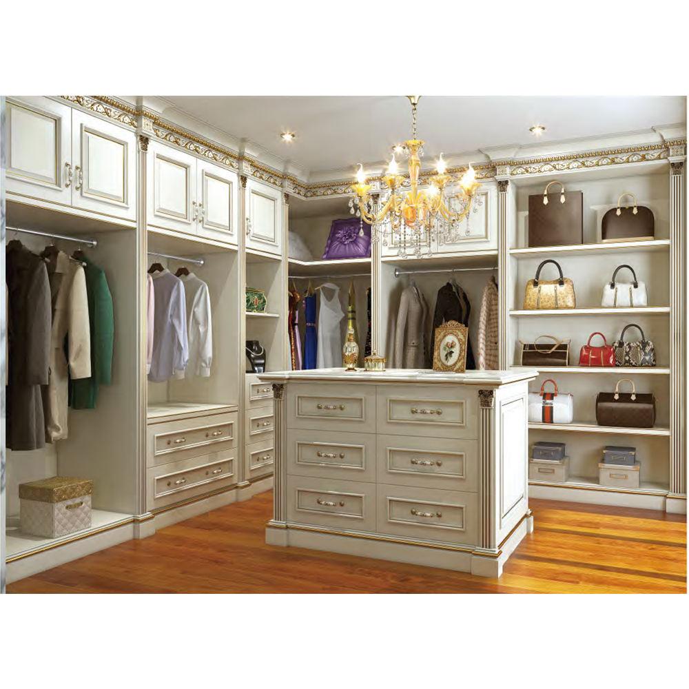 Secrect HS-W073 real antigo madeira maciça de armazenamento único branco mobiliário francês armário roupeiro