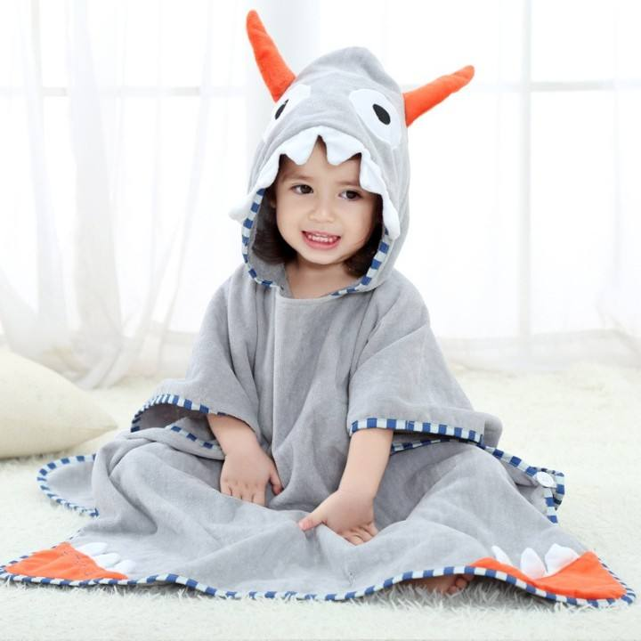 Adorable Cotton Microfiber Dinosaur Cow Boy Girls Multi-use Bath Shower Pool Swim Beach Towel Hooded Bathrobe Poncho For Kids