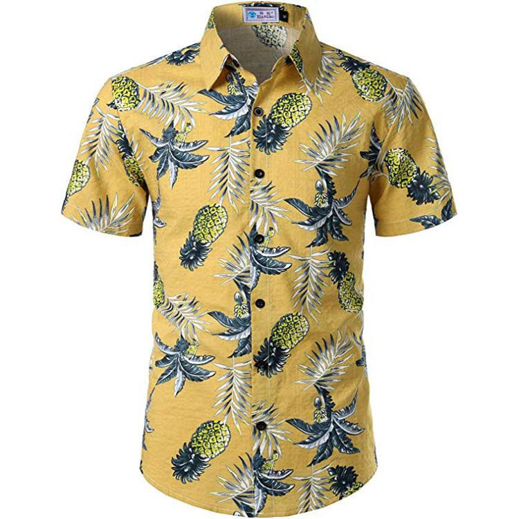 الرجال <span class=keywords><strong>القطن</strong></span> و فسكوزي الأناناس المطبوعة هاواي قصيرة الأكمام عارضة قميص