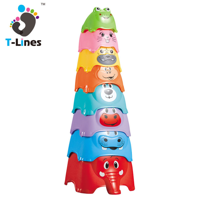 Plastic animal shape baby the first years stack up cup toys