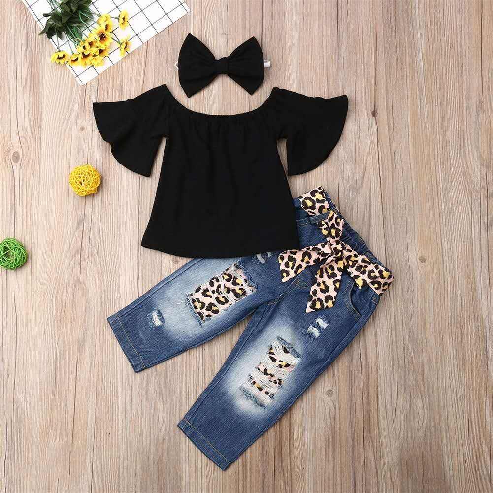 От 1 до 6 лет одежда для маленьких девочек топ и леопардовые джинсы для девочек комплекты одежды из 3 предметов