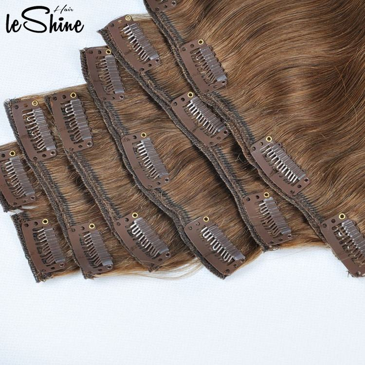 100% Russian Human Remy Clip On Hair Extensions Wholesale Natural Seamless Indian Clip In Hair Extension