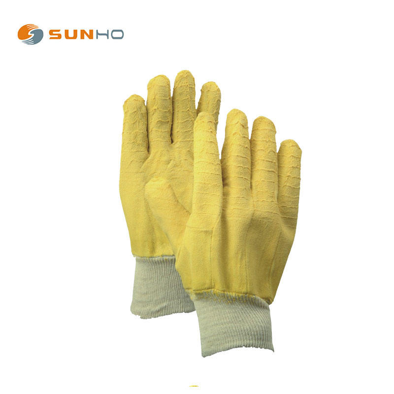 Glove Rubber Latex Gloves Yellow Crinkle Latex Full Coated Jersey Liner Gauntlet Gloves Working Gloves Rubber