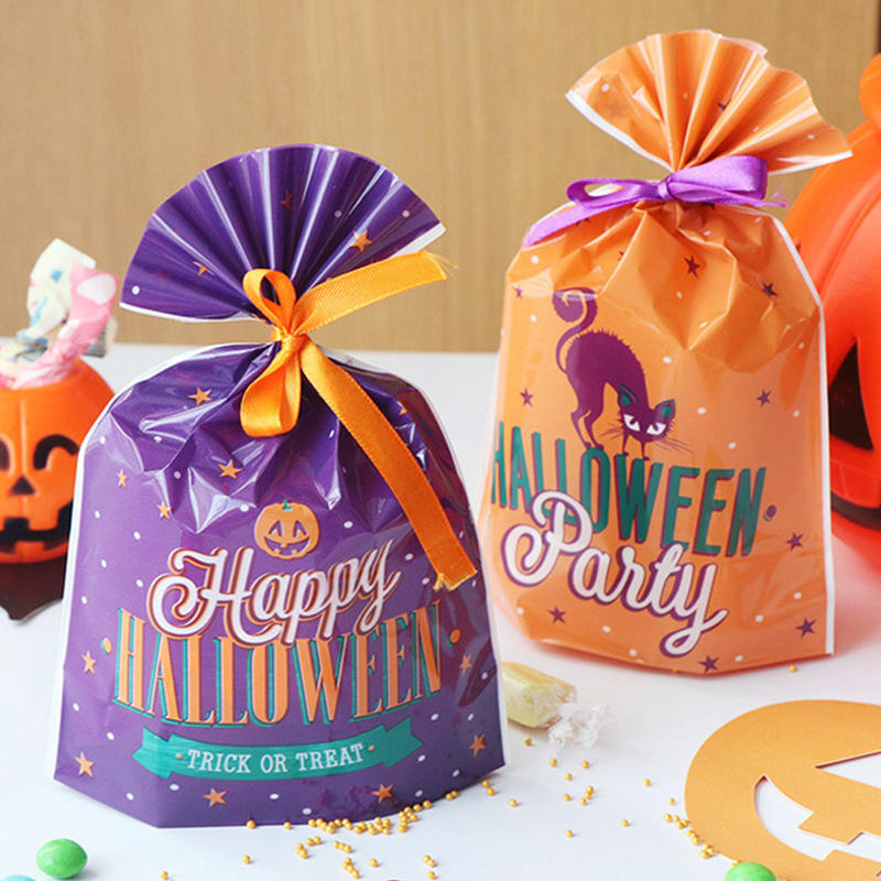 Halloween Party Geschenk Taschen Kürbis Haunted Haus Muster Candy Tasche Cookie <span class=keywords><strong>Süßigkeiten</strong></span> Kunststoff Band Tasche Festival Geschenk <span class=keywords><strong>Verpackung</strong></span> Liefert