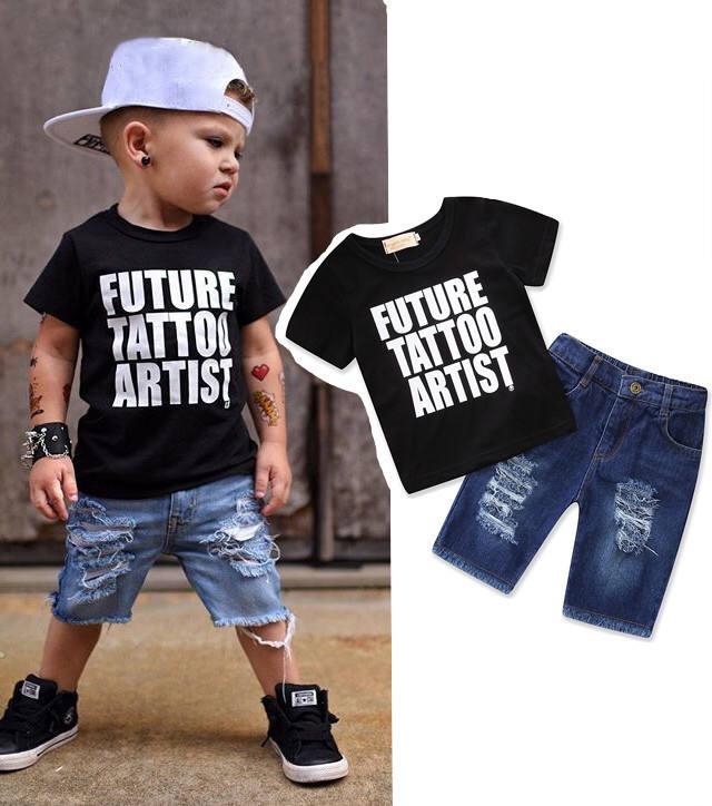 De alta qualidade por atacado menino 2 peças t-shirt e calças de brim das crianças dos miúdos conjunto de roupas