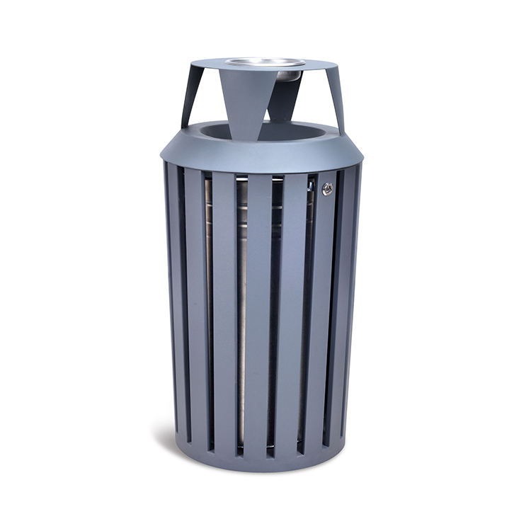 Trash Cans 50l Street Garbage Ash Trash Bins Powder Coated Commercial Exterior Big Metal Outdoor Storage Bucket IRON without Lid