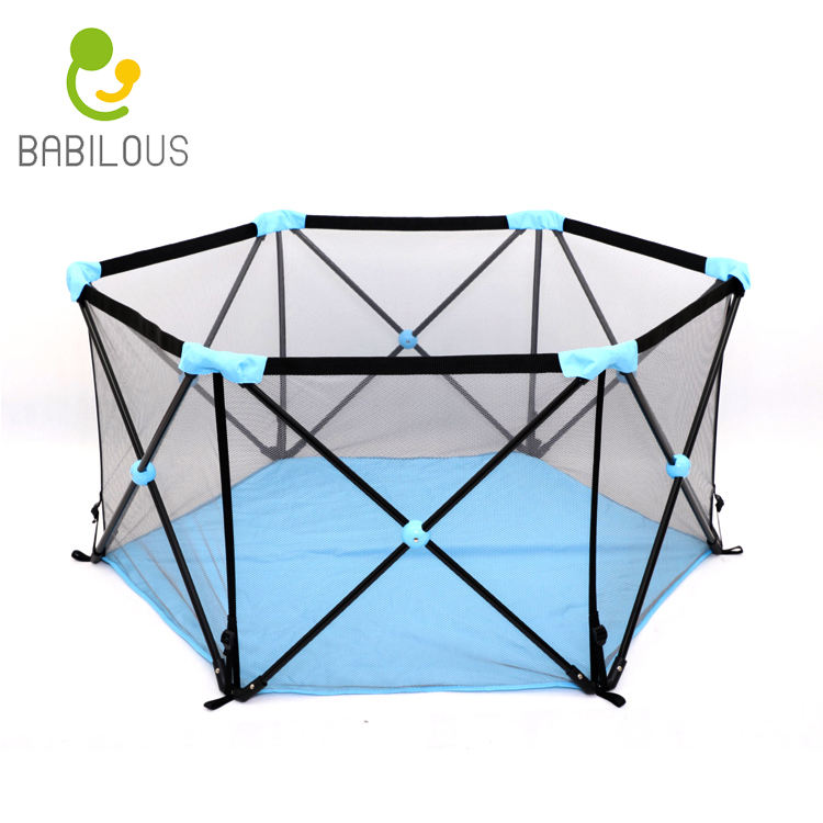 Pop up hexagon tent sky blue large indoor kids playpen safety playard baby play yard fence