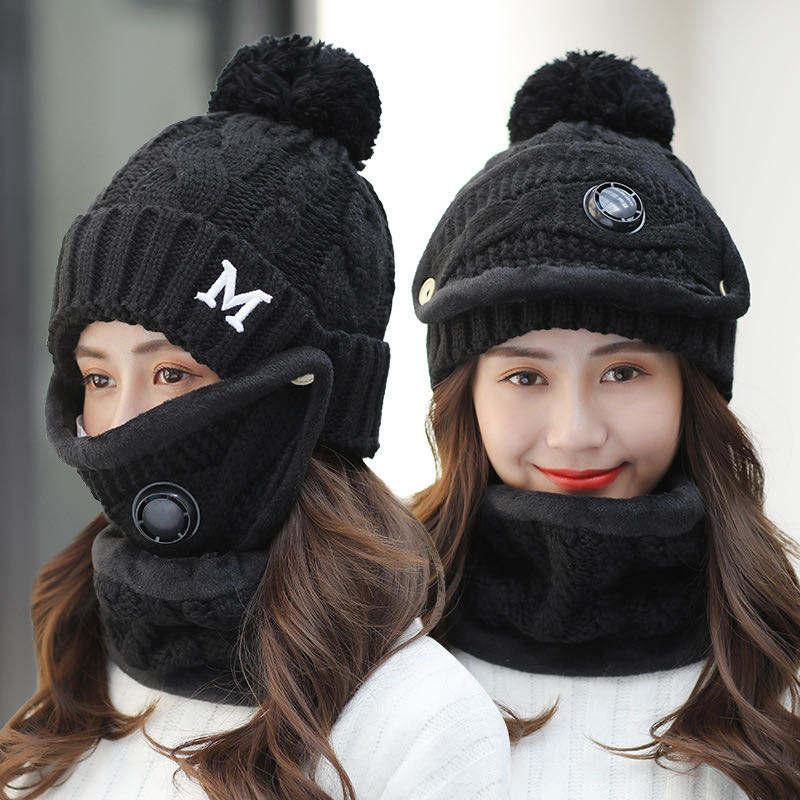3 pezzi di Moda Antivento Caldo Pile Sci Berretti Cappelli e maskes Sciarpa Set