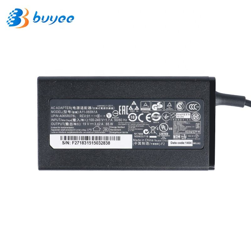 19V 3.42A 65W for Laptop Charger for Gateway MS2285 MS2274 NV78 A11-065N1A AC Adapter 5.5*1.7mm