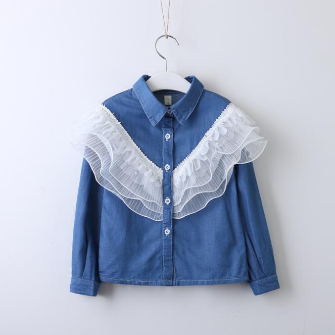 Осенняя джинсовая рубашка с длинными рукавами для маленьких девочек