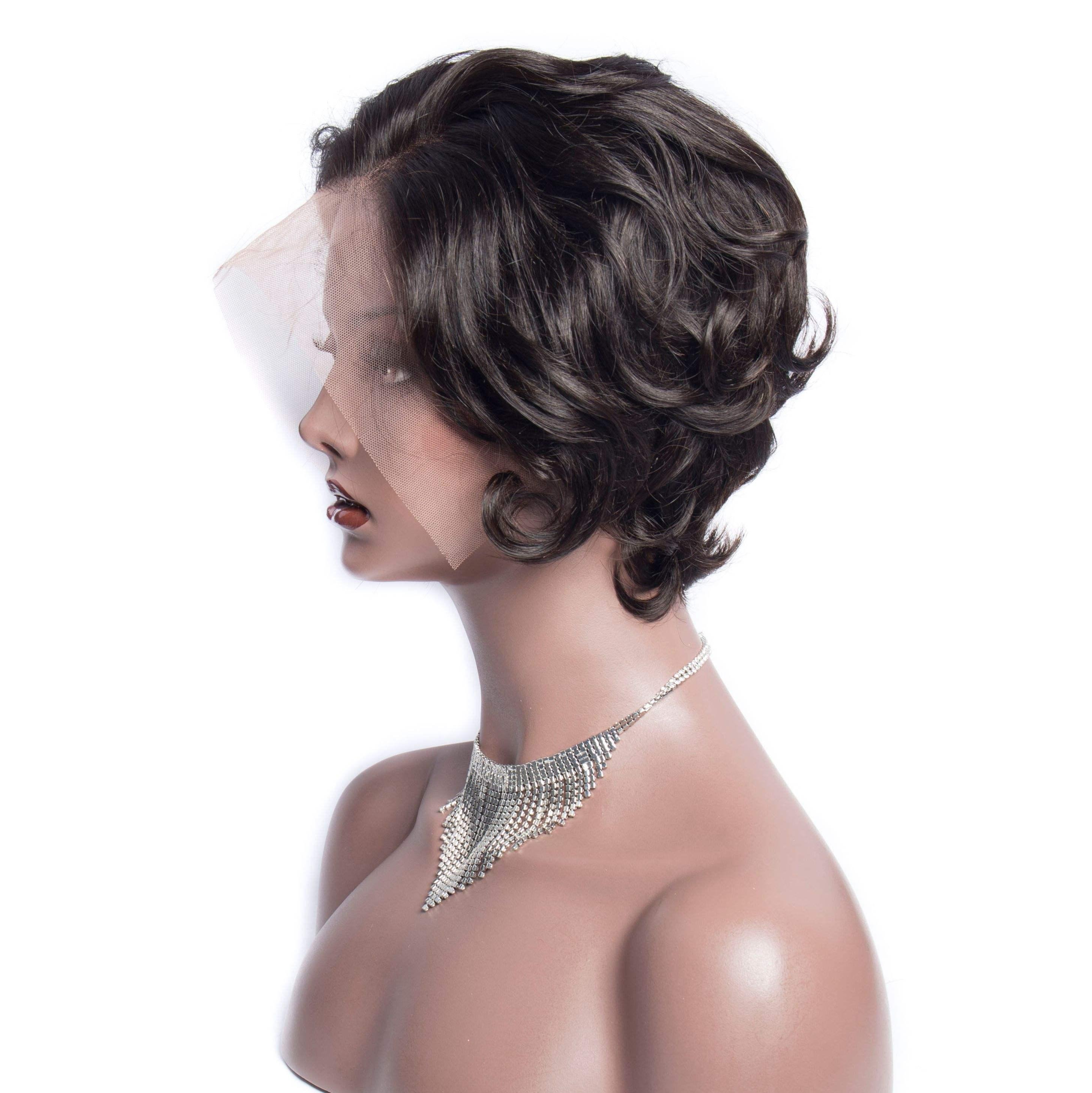 <span class=keywords><strong>Peluca</strong></span> Frontal de encaje de 13x4 de 6 pulgadas, pelucas de pelo humano Frontal de encaje de genio corto y suelto