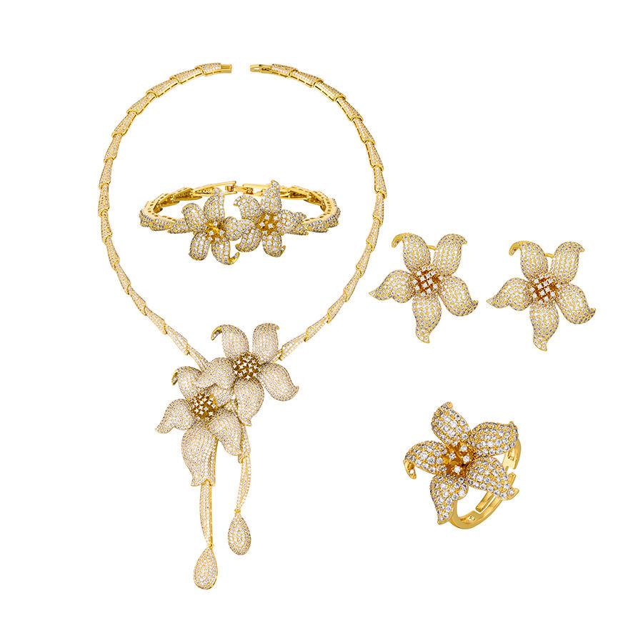 Комплект свадебных украшений для новобрачных, роскошный позолоченный комплект украшений из циркона, Дубай, бесплатная доставка