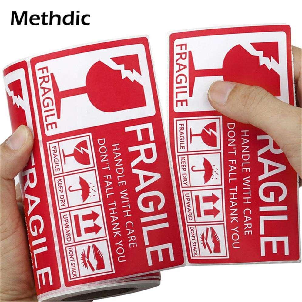 Methdic adhesive warning 130x70 fragile label roll for shipping