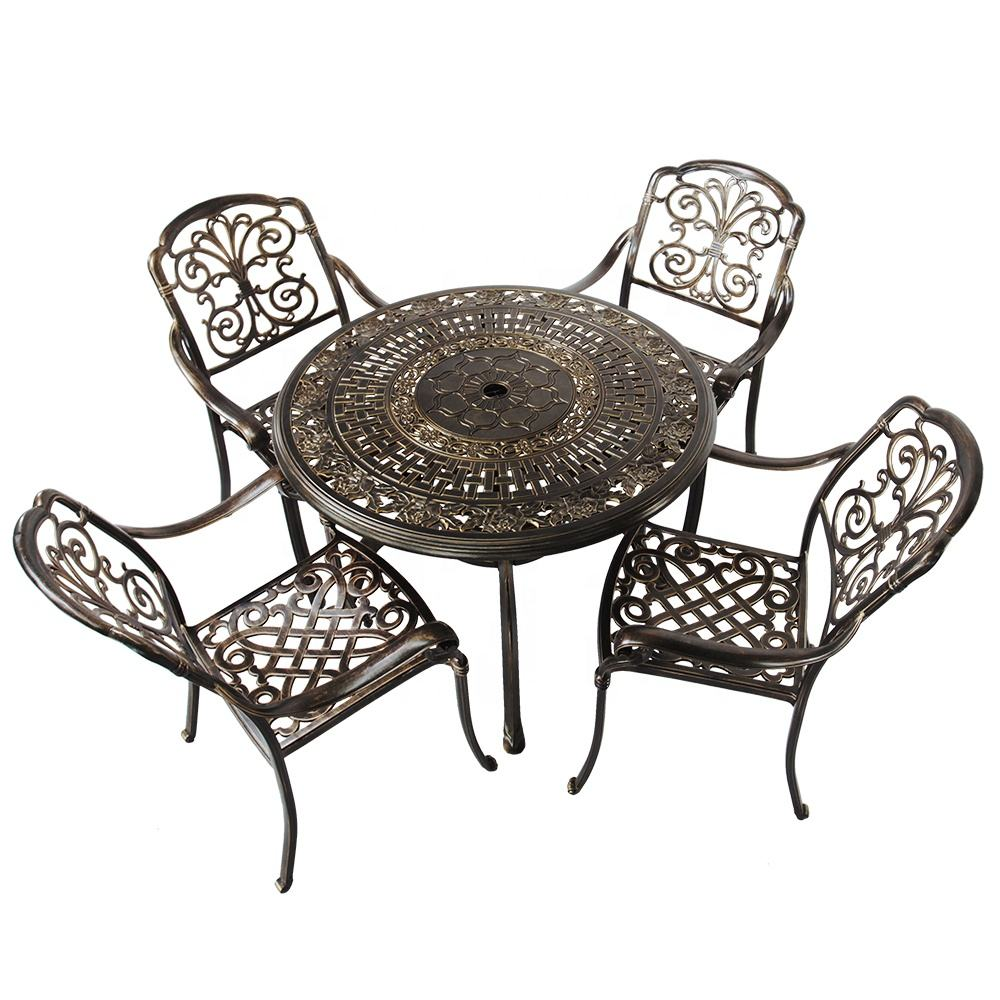 Outdoor Furniture Die Cast Aluminum Dining Table Set BBQ Dinner Set Picnic Table & Chair