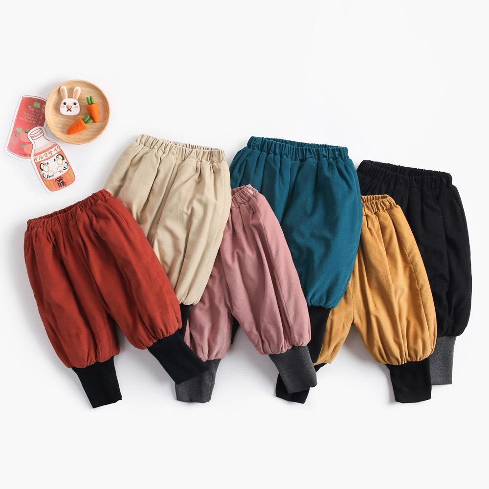 Осенне-зимние однотонные Хлопковые Штаны с карманами для маленьких девочек и мальчиков унисекс