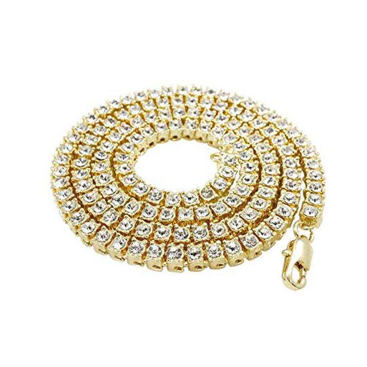 la joyería chapado en oro directo Cz hiphop estilo de diamantes de imitación de acero inoxidable para hombre collar de cadena