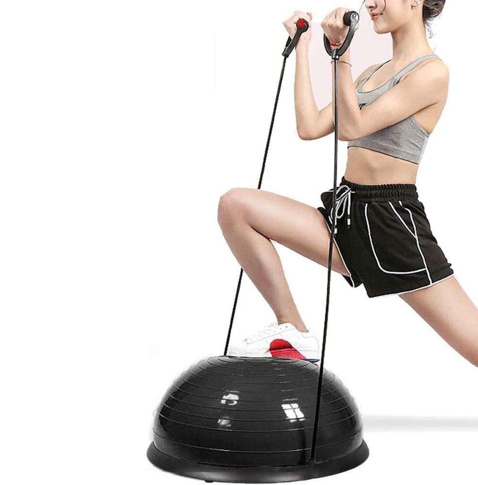 <span class=keywords><strong>Bandes</strong></span> De résistance et Pompe À Pied Yoga Fitness Balle D'équilibre Formateur Moitié Yoga Stabilité Ballon D'exercice
