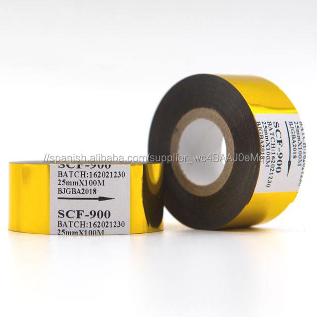 SCF-900 sello caliente Color oro lámina de codificación de 25mm * 100m máquina de codificación de las cintas