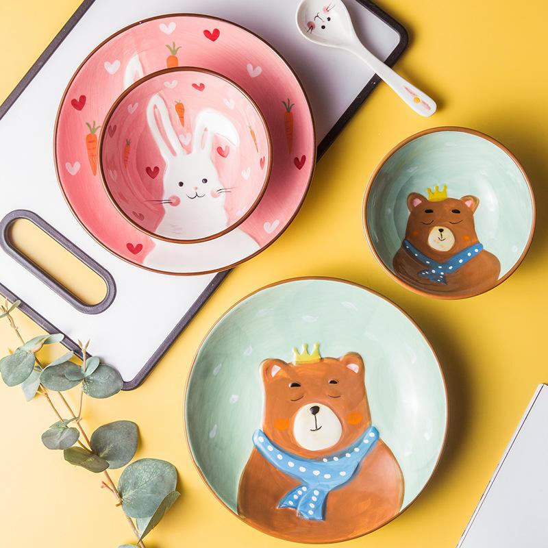 Meilleure Vente Plateau À Oeufs Créatif Animal Nourriture Dessert Créatif Dessin Animé En Céramique Plaque