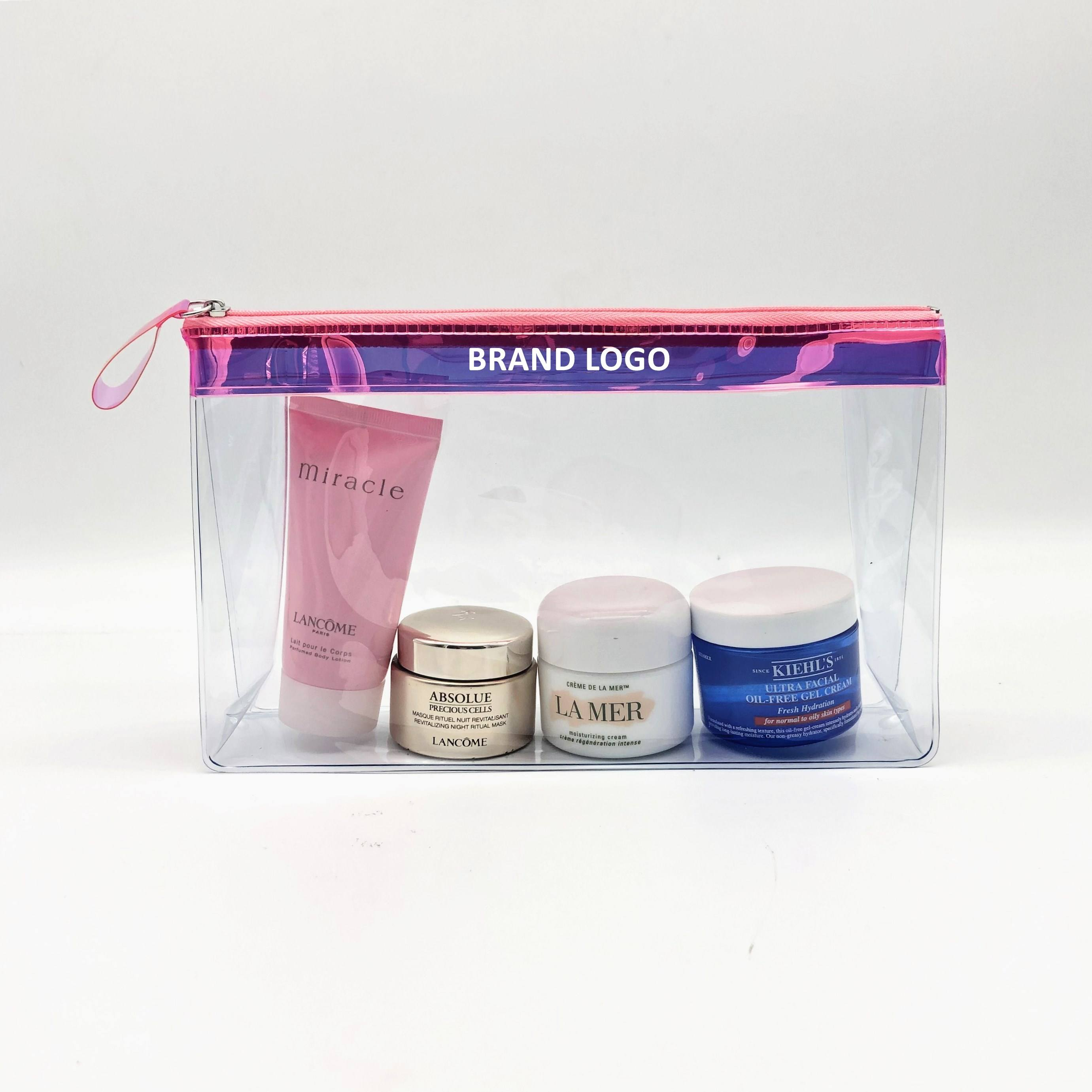 Promotional Factory Price Portable Zipper Clear Holographic Pvc Make Up Toiletry Bag旅行pounch
