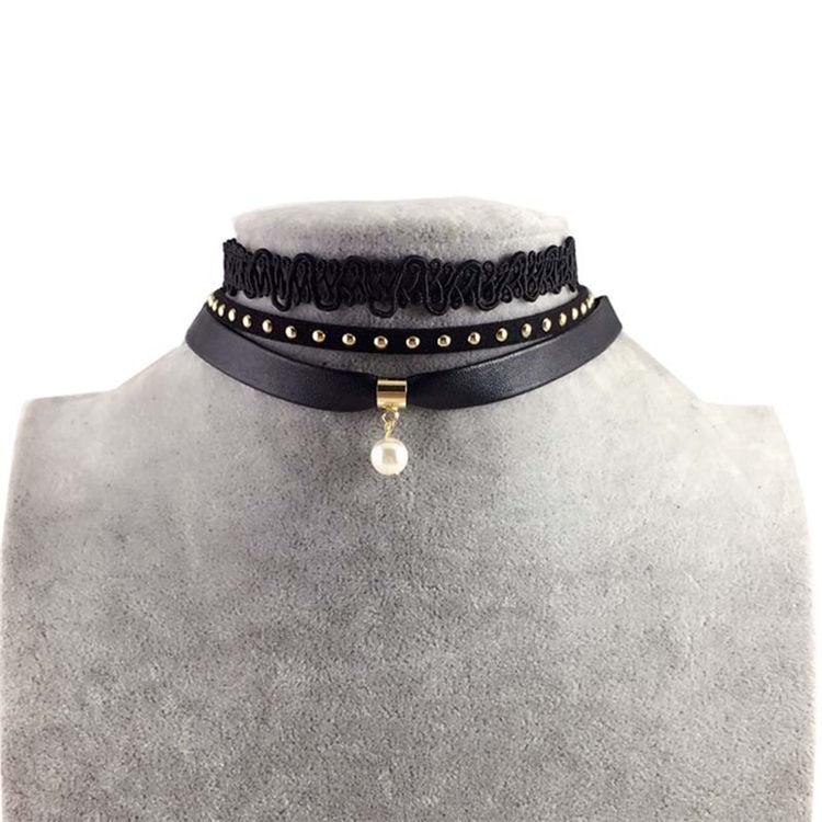 Venta caliente estilo gótico simple múltiples de encaje de cuero perla colgante <span class=keywords><strong>collar</strong></span> de la <span class=keywords><strong>collar</strong></span> de