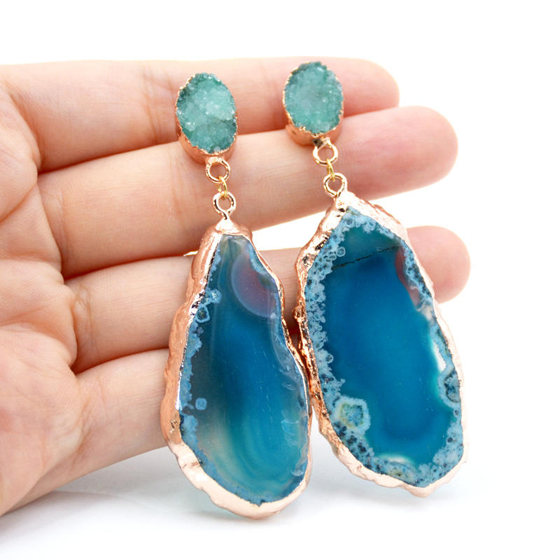 Black Agate Slice Druzy Earring Natural Gemstone Components Pairs Double Bail Connect Earrings Gold Edged Earrings Making Jewelry A-14833