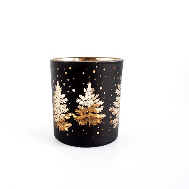 Custom OEM Glass Electroplated Laser Engraved Candle Jars black candle holders 200ml Wholesale