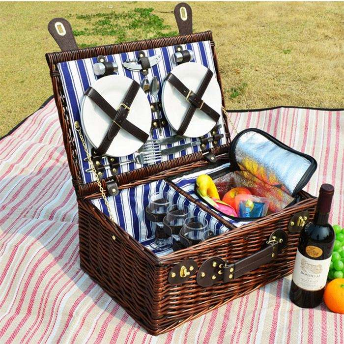 Willow Fordable Collapsible Market Tote Cooler Picnic Basket For 2 Person