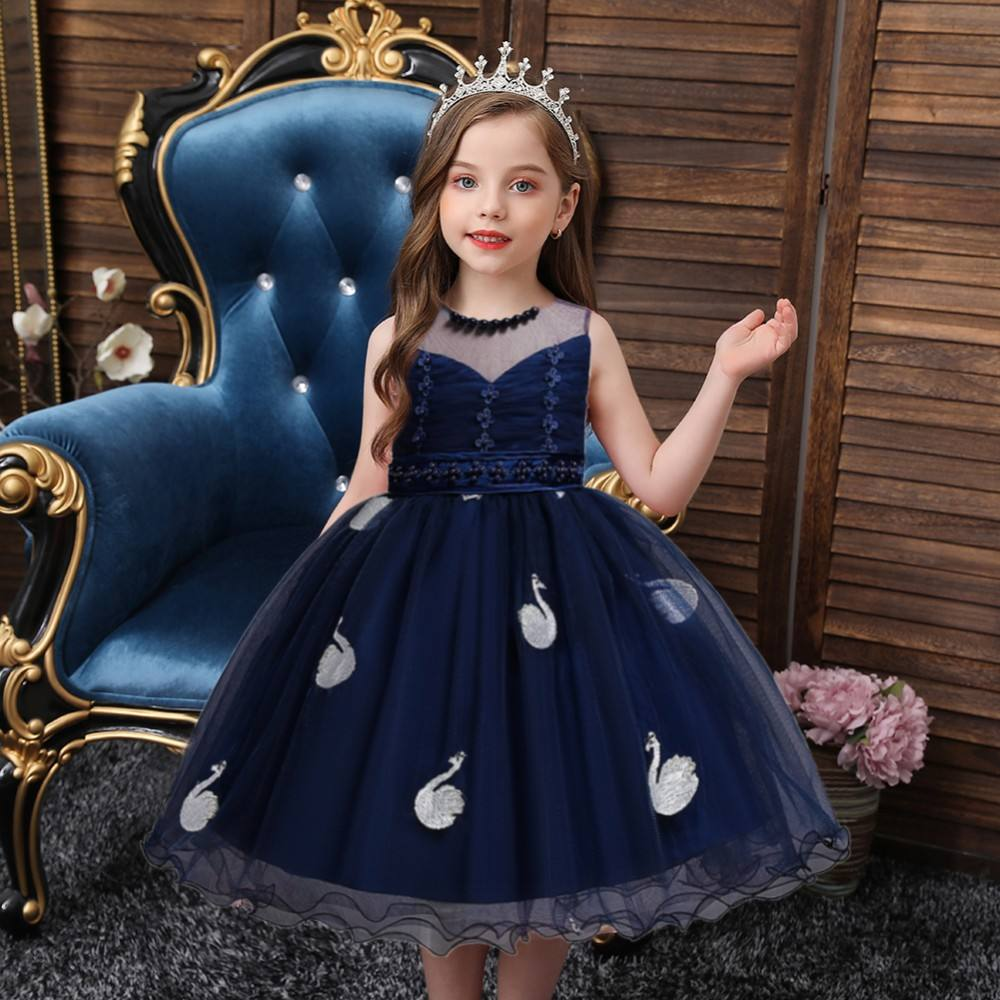 корейский цветочный костюм девушки подружки невесты синий лебедь детский день рождения платье мода детский бал вечернее платье 6