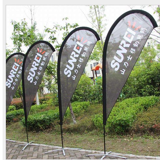 Personnalisé en aluminium de fibre de verre pôle drapeaux en forme de larme drapeau de plage